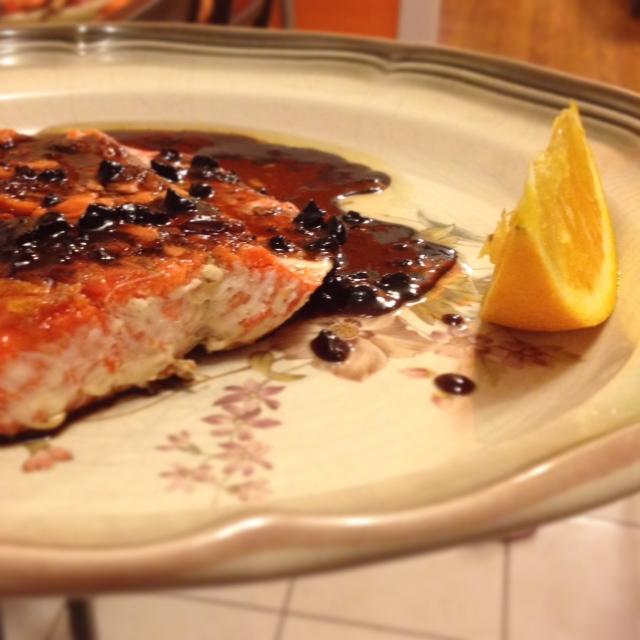 Salmon with black garlic glaze